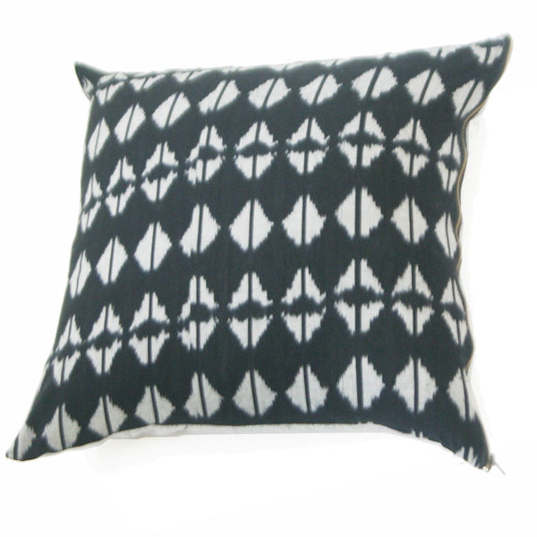 Woven Cotton Ikat Throw Pillow Black Triangle Pattern
