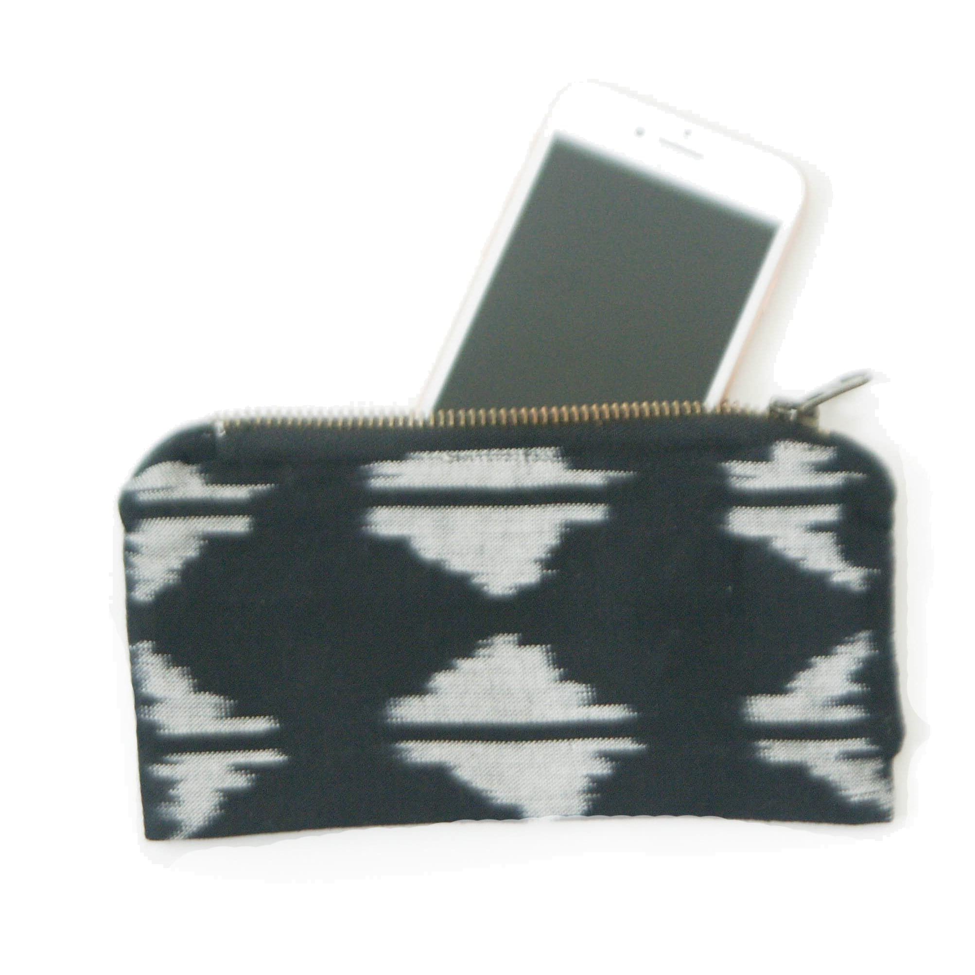 Black Ikat Triangle Cotton Woven Small Zipper Pouch
