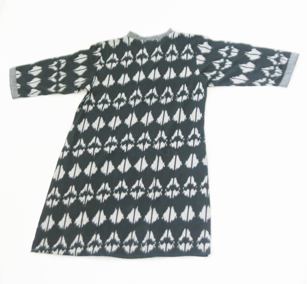 Black Triangle Tulip Cotton Tunic Top Artisan Made Ikat