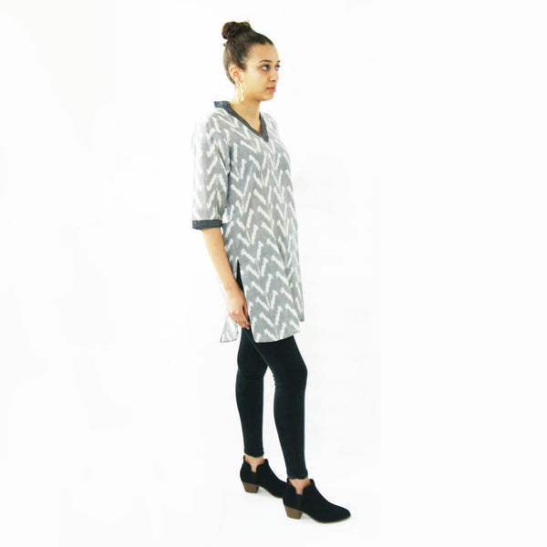Black Triangle Cotton Tunic Top Artisan Made Ikat