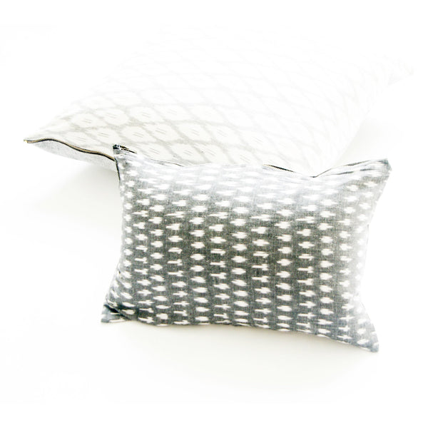 Handwoven Cotton Ikat Throw Pillow White Grey Ogee