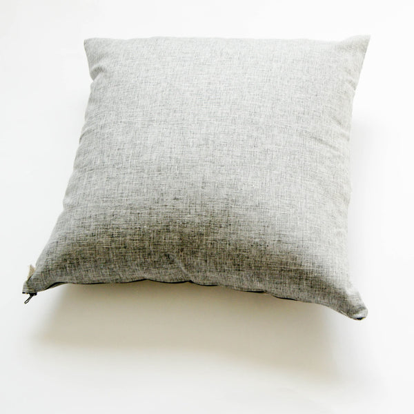 Handwoven Cotton Ikat Throw Pillow Grey Tulip Pattern