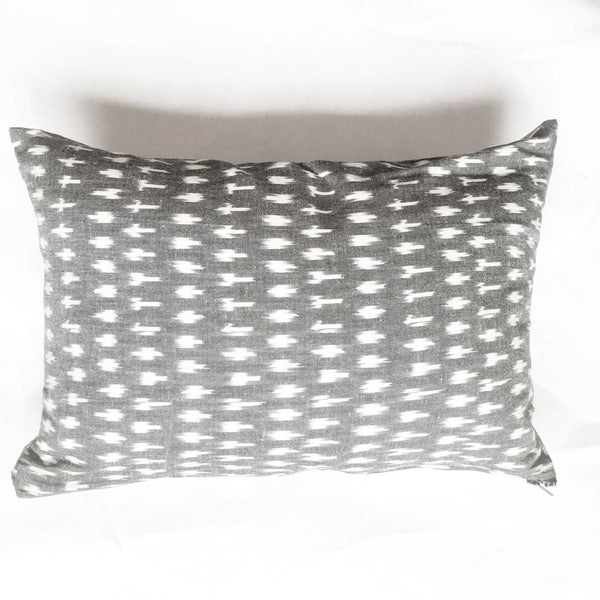 Grey White Dot Handwoven Cotton Ikat Lumbar Pillow