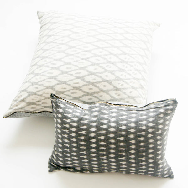 Grey White Dash Cotton Ikat Lumbar Pillow 12 x 18