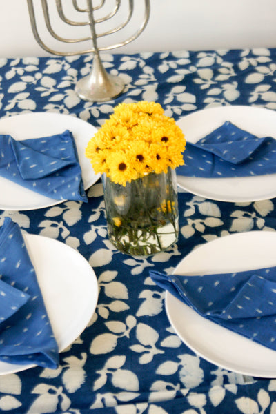 Cobalt Blue Dash Ikat Cloth Dinner Napkin Set of 4