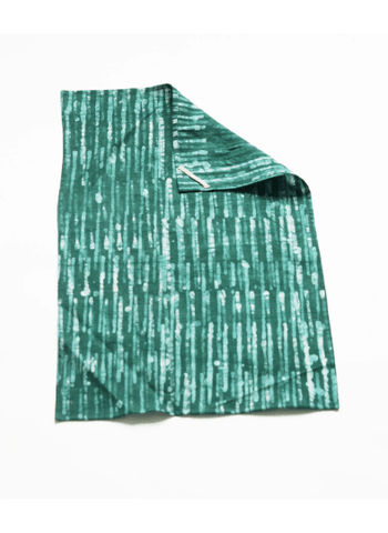 Emerald Green Stripe Handprint Batik Linen Kitchen Tea Towel