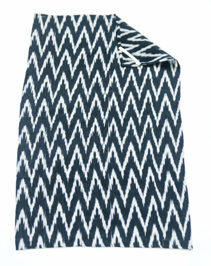 Handwoven Black Grey Ikat Cotton Zig Zag Tea Towel