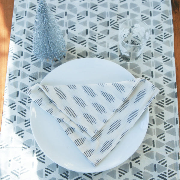 Cotton Block Print Tablecloth Grey Triangle Geometric