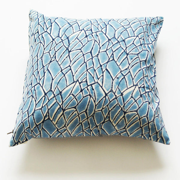 Blue Branch Pattern Block Printed Cotton Square Pillow 20 x 20Blue Branch Pattern Block Printed Cotton Square Pillow 20 x 20