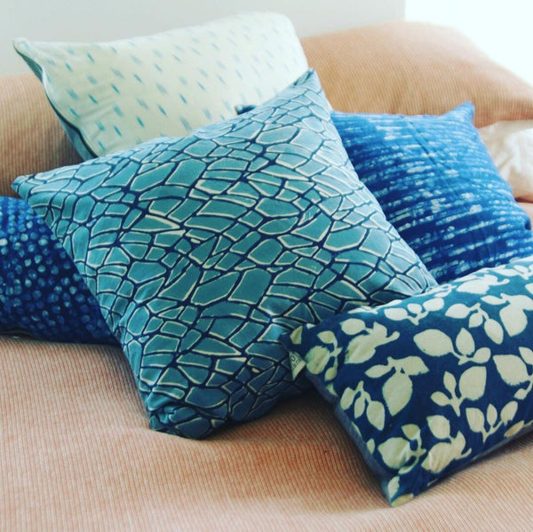 Blue Branch Pattern Block Printed Cotton Square Pillow 20 x 20