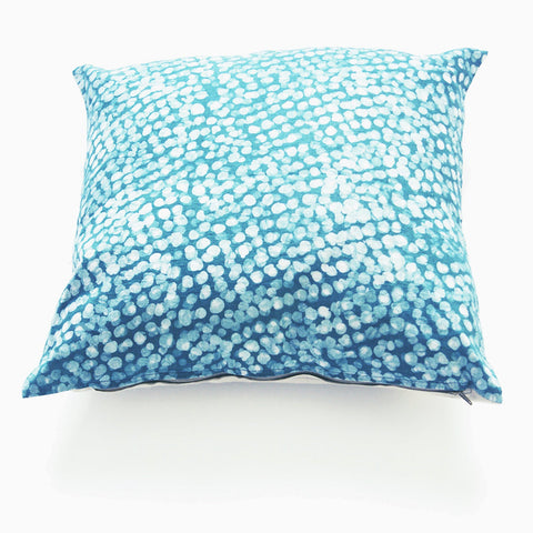 Linen Pillow Cover Teal Dot Batik Blockprinted