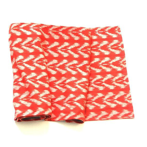 Table Runner Orange Tulip Handwoven Cotton Ikat