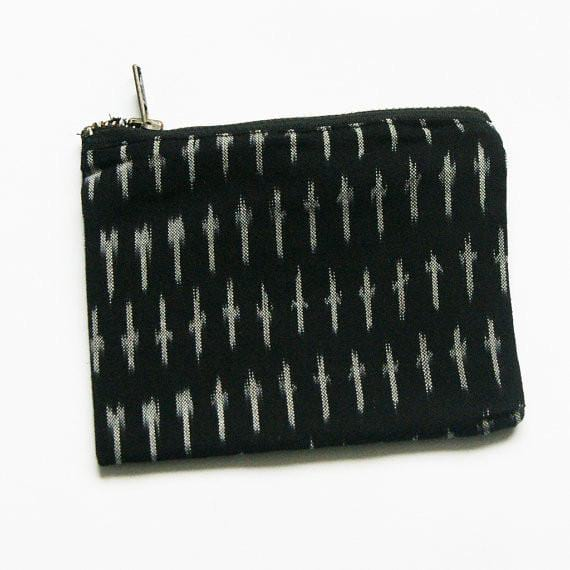 Black Grey Cotton 4.5x6 Ikat Dash Zipper - Pouch - Rustic Loom