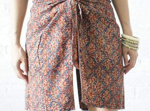 Hand Blockprinted Vegetable Dyed Blue Red Wrap Shorts