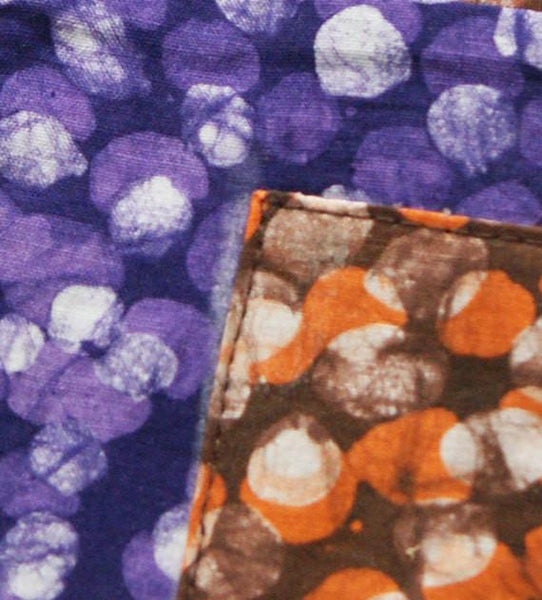 Cloth Coaster Set Purple Orange Dot Dot Batik Block Print