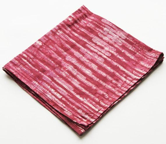 Red Stripe Cotton Table Napkin Batik Block Printed Set of 2