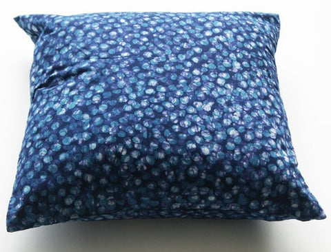 SALE: Decorative Throw Pillow Blue Dot Handprinted Batik Block Print