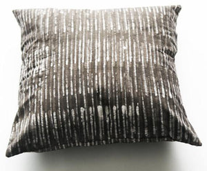 Decorative Pillow Grey Stripe Handprinted Batik Cotton