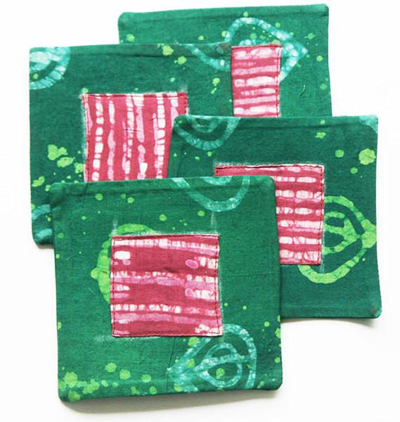 Cloth Coaster Set Green Fig Batik Block Print