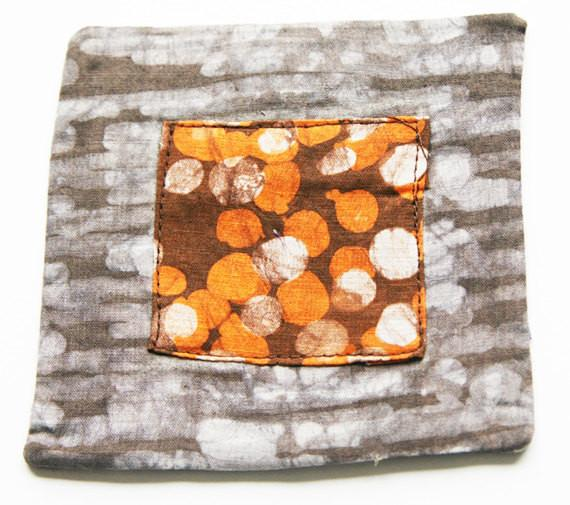 Cloth Coaster Set Grey Stripe Orange Dot Batik Block Print