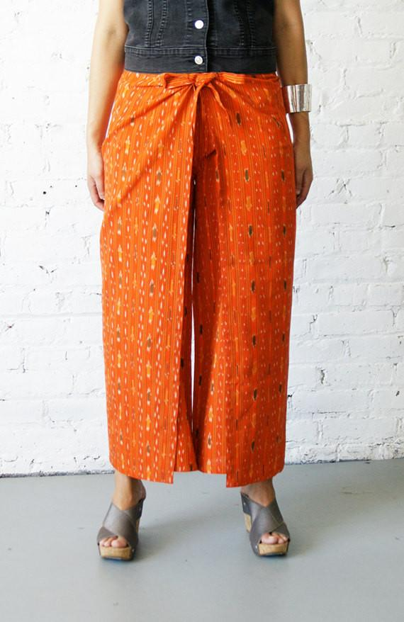 Palazzo Cotton Handwoven Orange Ikat Stripe Wrap Pants