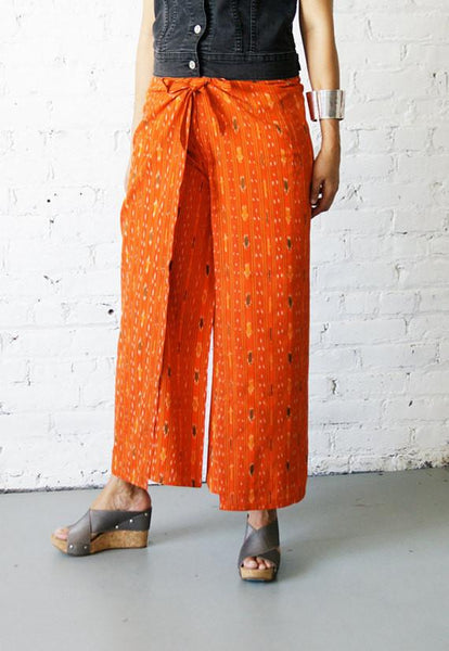 Palazzo Cotton Handwoven Orange Ikat Stripe Wrap Pants - PANTS- Rustic Loom