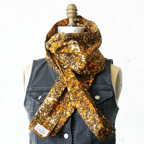 SALE: Orange and Brown Hand Painted Batik Cotton Scarf Rustic Loom