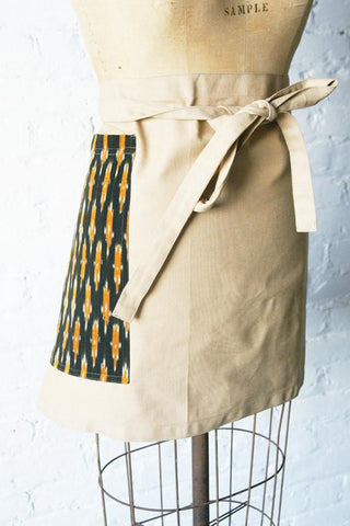 Black Gold Dash Khaki Cotton Canvas Half Chefs Apron