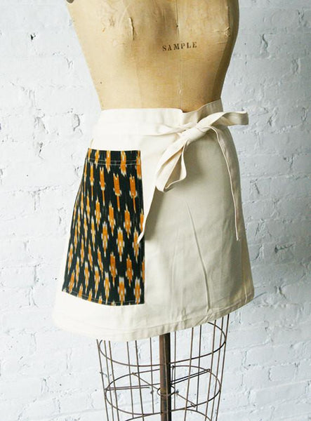 Cream Canvas Chefs Apron Black Gold Dash with Pocket