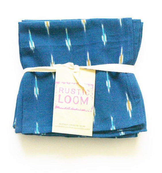 Blue Cloth Cocktail Napkin Handwoven Ikat Dot Set of 4