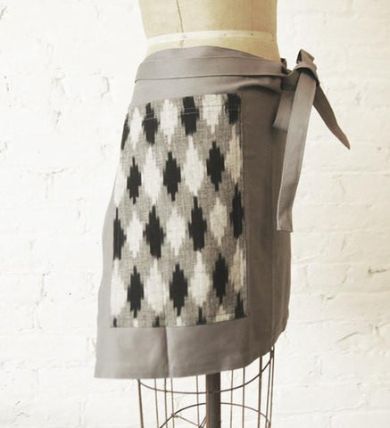 Half Chef Apron Grey with Black Grey Diamond Ikat