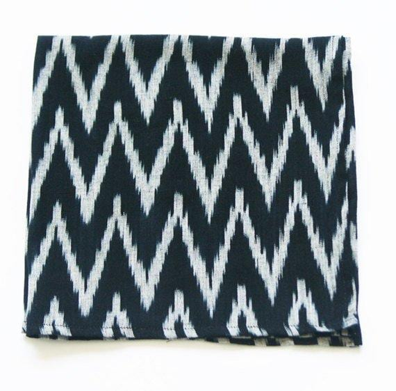Black Grey Zig Zag Handwoven Ikat Table Napkin