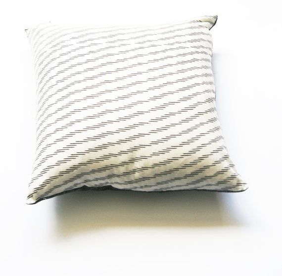 Toss Pillow White Grey Cotton Ikat Zebra Stripe