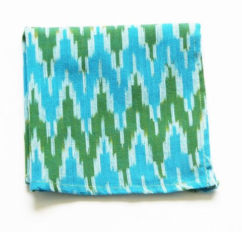 Blue Aqua Green Cocktail Napkin Ikat Zig Zag Set of 4