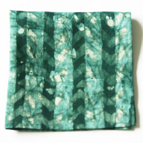 Emerald Chevron Green Linen Batik Napkins Set of 4