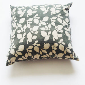 Grey Leaf Square Cotton Pillow Hand Block Printed