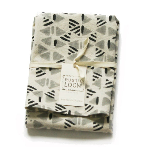 Grey Cotton Kitchen Tea Towel Handprinted Triangle Geo Pattern