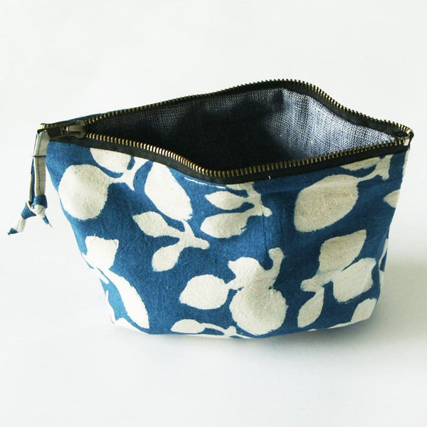 Indigo Blue Natural White Leaf Cosmetic Bag Zipper Cotton 6x10.5x4 - Pouch - Rustic Loom