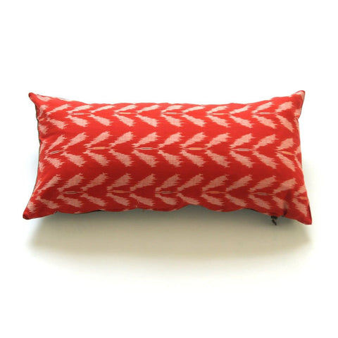 Lumbar Pillow Cover Orange Ikat Tulip Handwoven