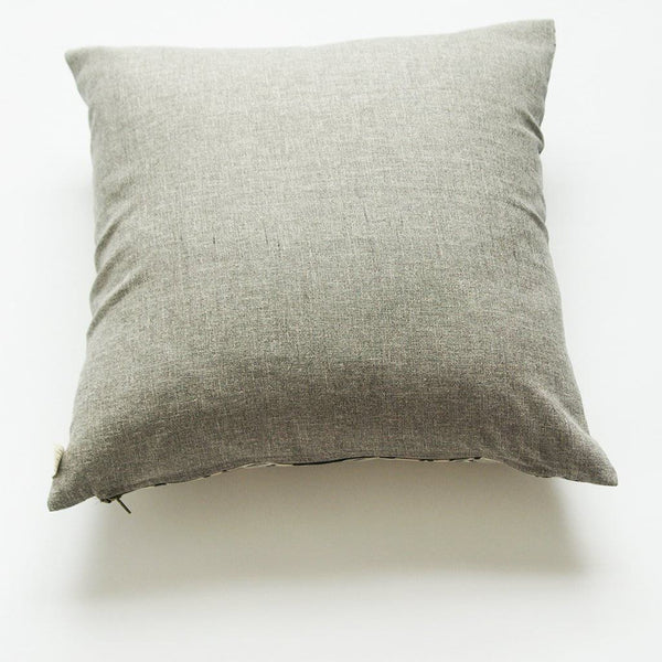 Grey Black Natural White Branch Pattern Square Sham Hand Block Printed 20x20 Cotton - Pillow - Rustic Loom