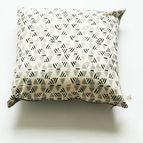 Grey Geometric Print Square Pillow Sham Hand Block Printed 20 x 20 Cotton Throw Pillow Cover