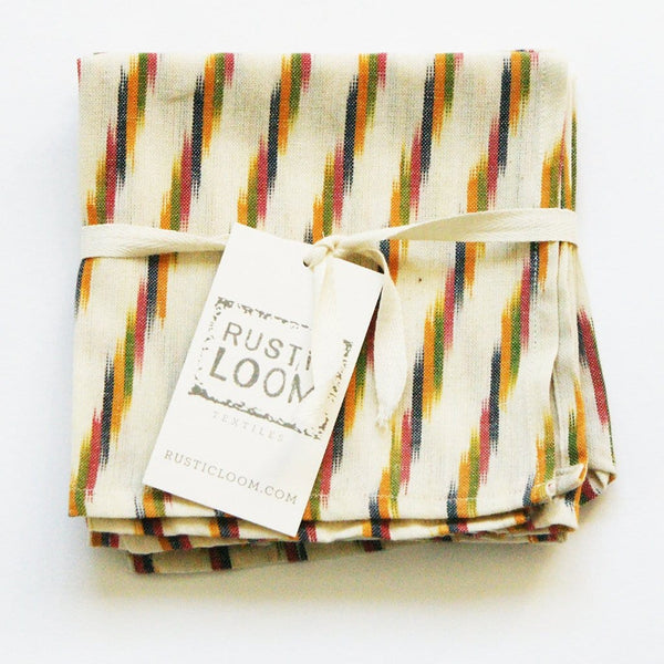 Cream Multi Color Stripe Cocktail Napkins Set of 4