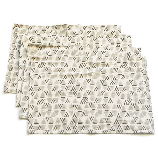 Gray Handprinted Placemat Set Gray Geometric Print Set of 4