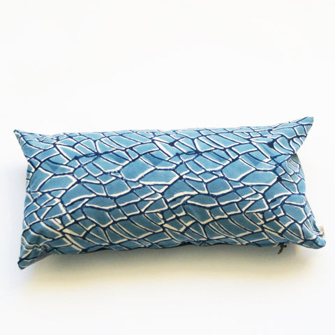 Blue Branch Pattern Block Printed- Cotton Lumbar Pillow 12x24