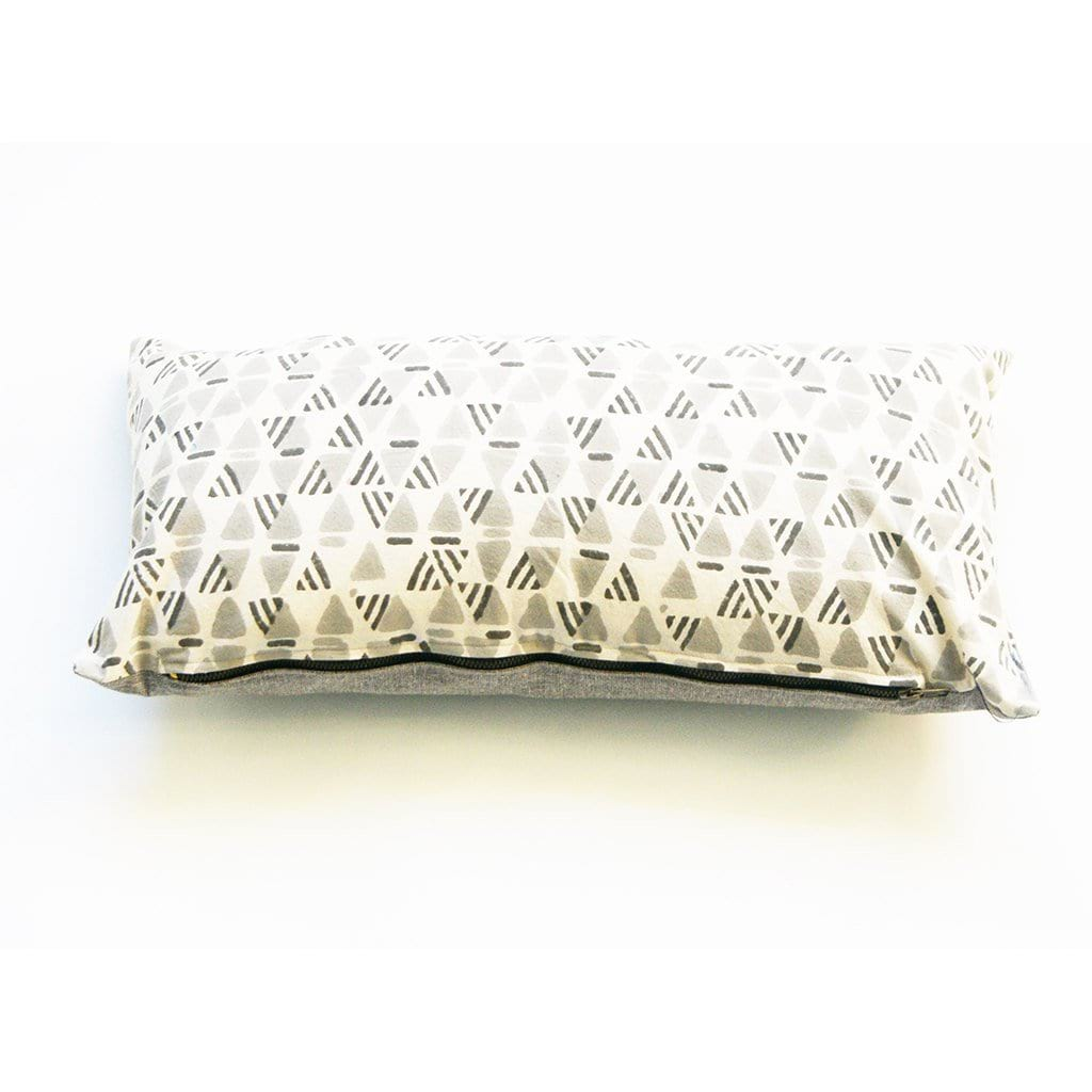 Grey Triangle Pattern Lumbar Pillow Sham Hand Block Printed 12x24 Cotton Throw Pillow Cover Rustic Loom