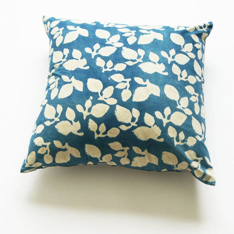 Indigo Blue Leaf Hand Block Printed Cotton Throw Pillow