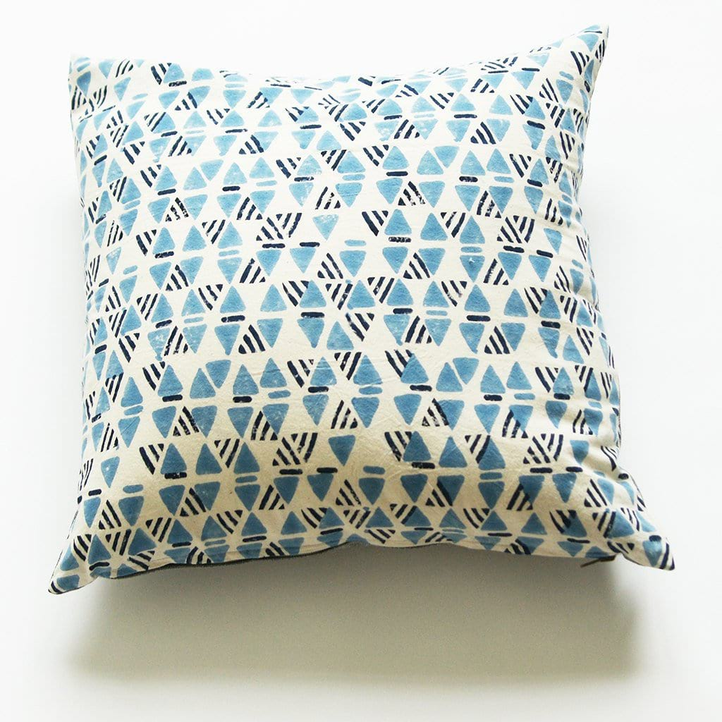 Indigo Blue Geometric Print Square Pillow Hand Block Printed