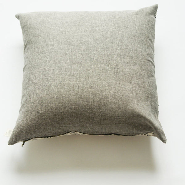 Grey Natural White Geometric Print Square Sham Hand Block Printed 20x20 Cotton 20x20 - Pillow - Rustic Loom