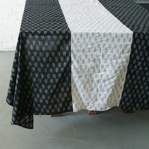 Black and White Modern Ikat Polka Dot Tablecloth
