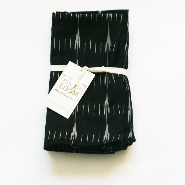 Black White Cotton Modern Arrow Stripe 20x20  - Napkin - Rustic Loom